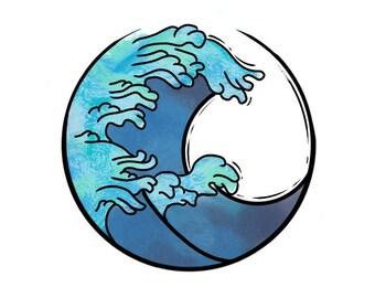 Simple Circle Wave Temporary Tattoo / Sticker