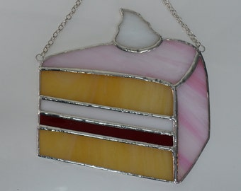 CUSTOM REQUEST Stained glass Cake Slice with Fruit Filling And Whip Cream Topping