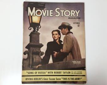 Vintage Movie Story Magazine September 1943 - Cover Robert Taylor and Susan Peters - Inside Orson Welles, Jennifer Jones & Ronald Reagan