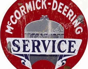 "Vintage Style "" McCormick-Deering Service ""  Round Metal Sign, Rusted"