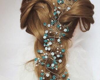 Prom hair Headband something blue boho bridal wreath halo silver headpiece Wedding crystal vine babys breath wreath Wedding vine long vine