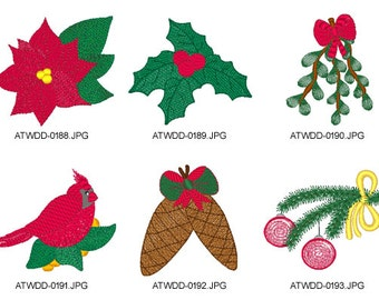 Christmas-Flowers ( 6 Machine Embroidery Designs from ATW )