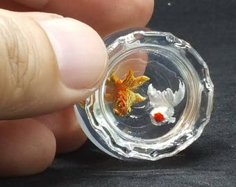2 Gold Fishs in Bowl Glass Greenery for Dollhouse Miniature Handmade Pets