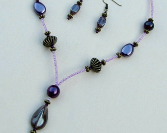 Beaded Necklace & Earrings Purple Pink and Antique Gold Colours (PH5)