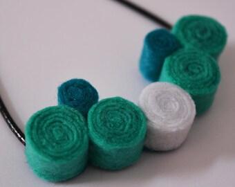 Handmade felt pendant necklace spirals green turquoise white