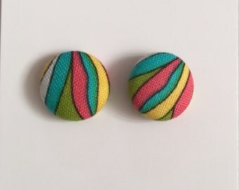 15mm Fabric Earrings • Bright Fiesta • Surgical Steel • fabric stud earrings • button studs • button earrings