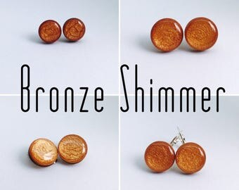 Bronze Shimmer Round Resin/Bamboo Earrings - various sizes and bails • studs • clip ons • drop • dangles • surgical steel • silver plated