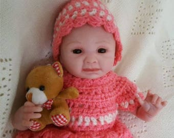 10 inches reborn lifelike doll in handmade crochet outfit