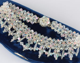 Vintage Aurora Borealis Glass Choker, 50s AB Bead Necklace, Woven Bead Choker, 50s Aurora Borealis Bridal Choker