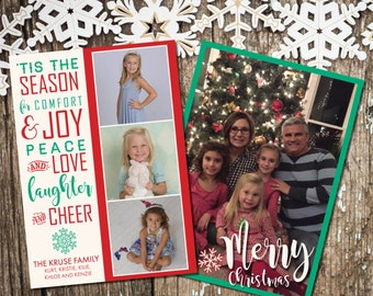 """Holiday Card with custom photo, printable, """"Tis the Season"""" Merry Christmas card with 4 custom photos, instant download"""