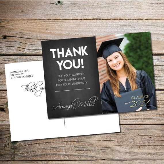 Thank You For Your Generous Gift Quotes: Chalkboard Graduation Thank You Card Thank You Graduation