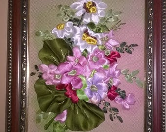 MINI EMBROIDERED PICTURE.Embroidery with satin ribbons.Great gift.