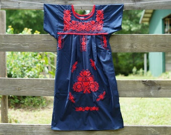ON SALE Summer Mexican Dress Boho Embroidered
