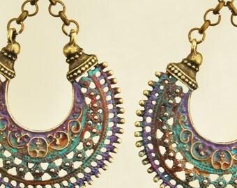 Boho Jewelry Turquoise Purple Jewelry   Hippie jewelry Bohemian Jewelry Boho Jewelry Tribal Jewelry Hippie Earrings