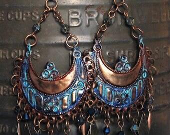 Turquoise Boho Earrings Boho Jewelry Hippie Jewelry Earrings Crystal Jewelry Tribal Jewelry Earrings Bohemian Jewelry Big Chandelier Earring