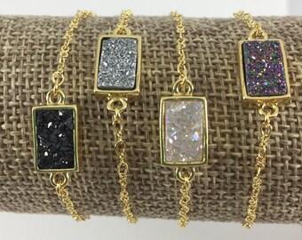 Natural Agate Druzy Bar Bracelet / Gold Bezel / Black / Silver / White / Rainbow