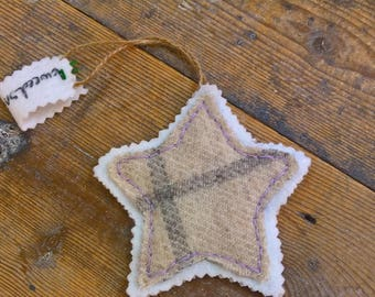 Stars Hanging Decorations Luxury Tweed Hand Cut and Stitched