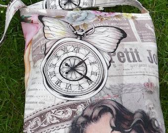 Handmade Tote Bag, Market Bag,  Designer Digital Print Fabic, Paris/Nautical Design, Lined
