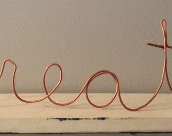 """Wire Wall Decor - """"create"""""""
