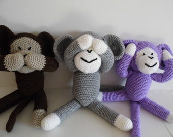 Cute cheeky monkeys, Crochet Monkey, Amigurumi Monkey, Stuffed Monkey, Crochet Toys