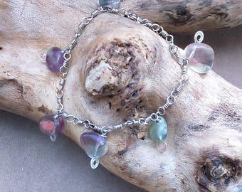 Ethnic, Celtic, Elvish bracelet in stainless steel and fluorite