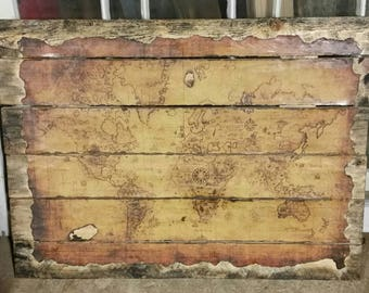 SALE Vintage Map, Rustic, Wood