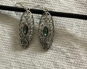 Mystic topaz Sterling silver earrings