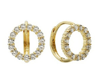14k Solid Yellow Gold Hoop Earrings Alnei 6765 Charming Round Design Lovely
