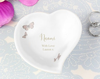 Personalised Ceramic Ring Dish, Wedding Ring Dish, Mother Of The Bride Ring Dish, Trinket Dish, Butterfly Ring Dish, Any Wording