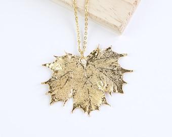 Maple, Genuine Leaf Necklace, Leaf Pendant, Silver Leaf, Rose Gold Leaf, Copper Leaf, Yellow Gold Leaf, Choose Your Finish, Maple Leaf