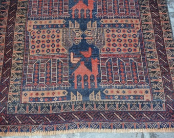 4'7 x 3 FT Antique Tribal Baluch Pictorial low pile rug