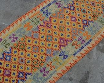 FREE SHIPPING 32 x 2'3 FT wool Handmade Afghan Tribal nomad Long Hallway kilim runner. Traditional runner. Turkish runner, Long long runner