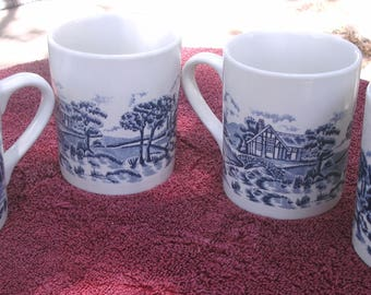 Blue Transferware coffee mug set of four
