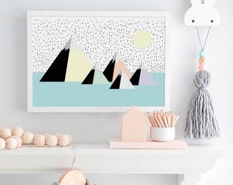 Mountains and Sun Children's Nursery Art Print