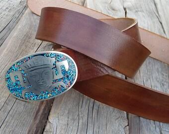 Men's Leather Belt, Buffalo leather belt, Jeans belt, Buffalo lerather belt with Ethnic Mexican Aztec buckle, Mexican belt