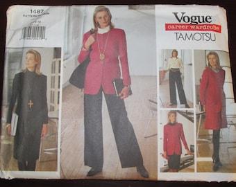 Vogue 1487 American Designer Tamotsu Career Wardrobe UNCUT Women's Size 14 16 18 1990s