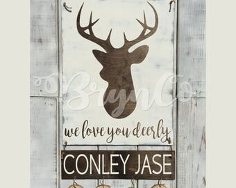 Deer / Hospital Door Hanger / Baby Boy / Birth Announcement / Hospital Wreath / Wood Sign / Welcome Baby
