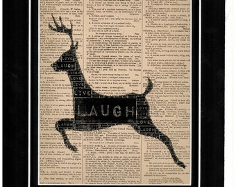 Black silhouette of deer jumping in a field dictionary art