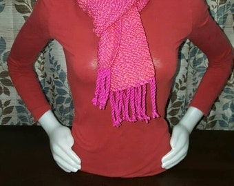 Hearts, pink on pink, heart scarf, valentine's day, gift for her, perfect gift, love, Handwoven, pink scarf, pink hearts, SALE