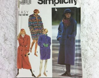 Simplicity 7457 Vintage Sewing Pattern Misses' Lined Coat in Two Lengths With Detachable Hood Size Petite-Extra Large / outerwear / plus