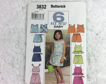Butterick 3832 Sewing Pattern Children's/Girls' Top, Skort and Shorts Size 6-8  / six sew easy / kid's clothing / summer wear / ruffled