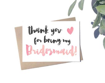 Thank You For Being My Bridesmaid Card - Wedding Thank You Card - Bridesmaid Card - Rustic Wedding Stationery