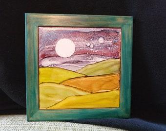 """6"""" Framed Alcohol Ink Landscape"""