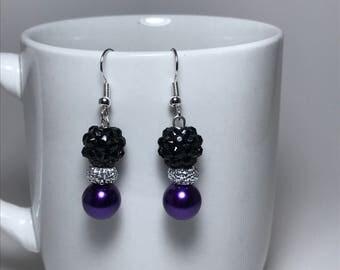 Purple Earrings,  Black Earrings, Silver Earrings