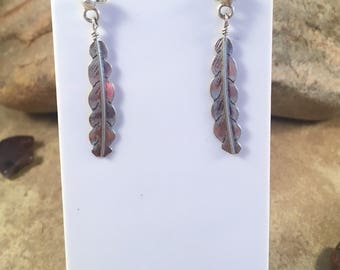 Vintage Navajo Sterling Silver Feather Dangle Earrings