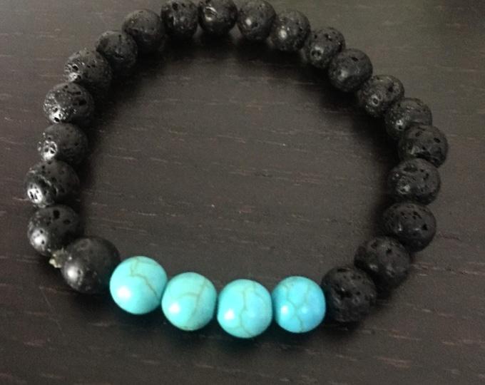 8mm LavaStone & Turquoise