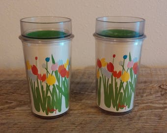 Pair of Vintage Tulips by Audrey Thermo-Serv Floral Beverage Cups, Vintage Thermo-Serv Plastic Tumblers, Vintage St.Tropez Insulated Tumbers