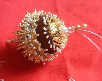 Brown Satin and Pearl Christmas Ornament