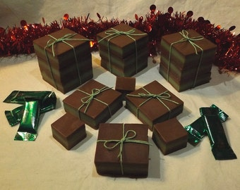 Single Bars - Chocolate Mint Soap Squares (Made w/Peppermint Essential Oil)