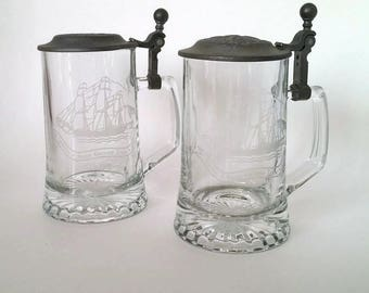 Etched Glass Collectible Steins with Pewter Lids  Set of 2!!